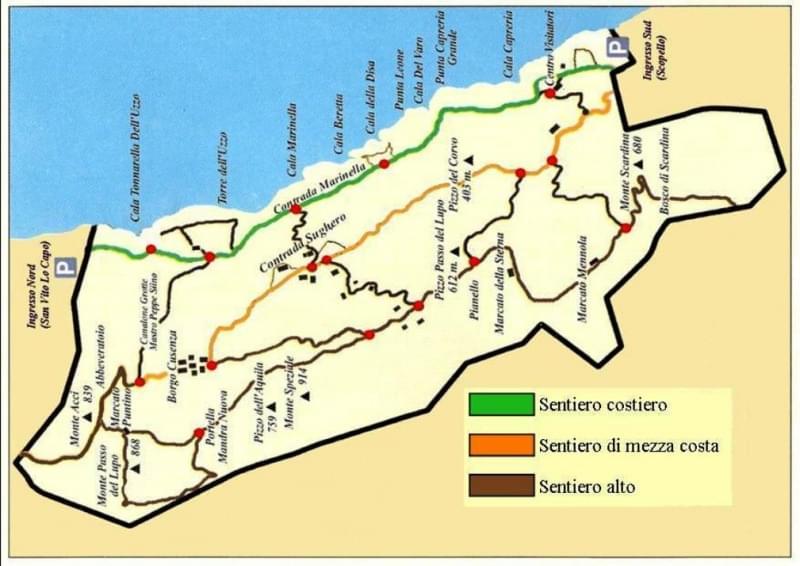 mappa riserva dello zingaro