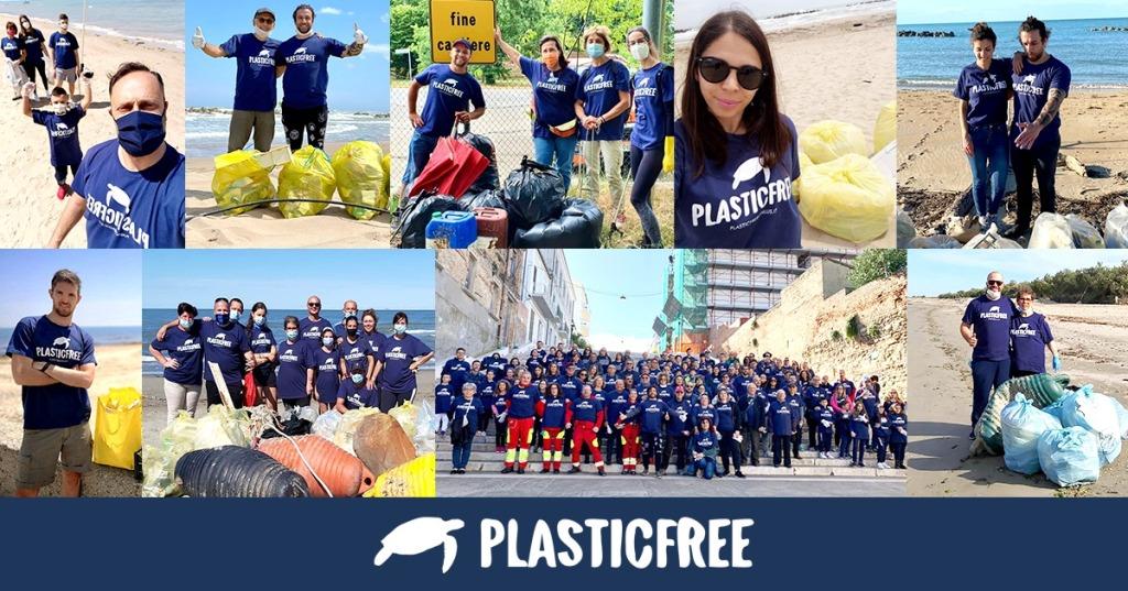 Collage con ragazzi durante raccolta Plastic Free